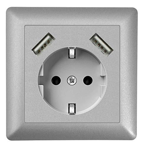 230 V Steckdose mit 2 x USB Ladegeräten, Schuko Wandsteckdose Unterputz, passend für Gira System 55, E2, Silber (Alu), TÜV Rheinland zertifiziert (Einfachsteckdose)