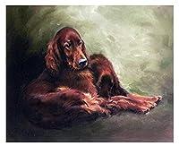 大人と子供のための数字でペイントアイリッシュセッター犬DIY油絵ギフトキット印刷済みキャンバスアート家の装飾
