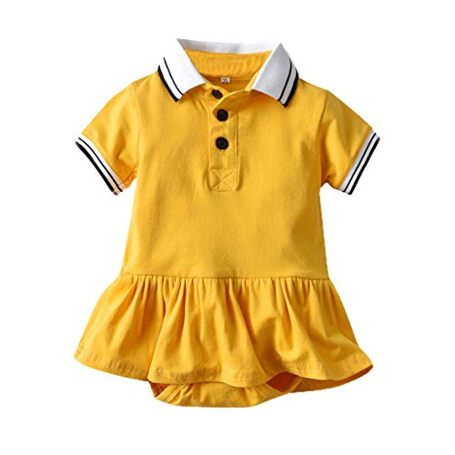 Hui.Hui BéBé Robe Body Combinaison Fille à Manches Courtes Gentleman Rayé Uni Dress VêTements