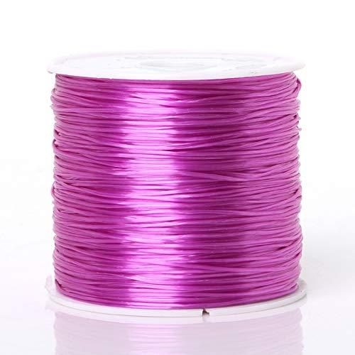 FENCHUN 50 m/Roll DIY Cristal Abajo CORDOR DE Personaje para JOYERÍA Fabricación de 0,7mm Hilo elástico Cuerda DIY Pulsera de Bricolaje Accesorios (Color : Purple, Size : 50meters)