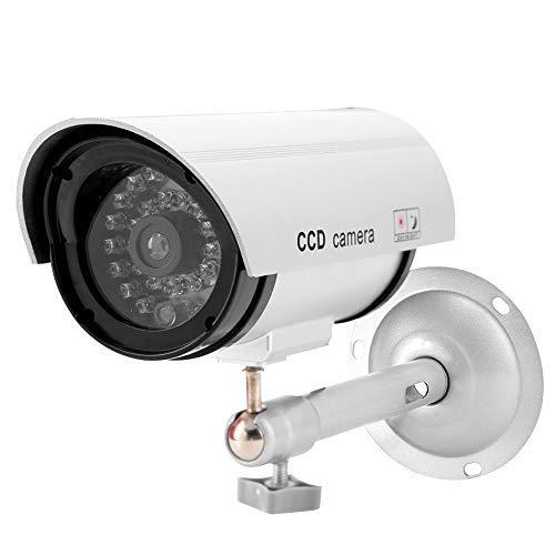 Kamera Attrappe mit LED Simulierte Innen- und Außen Dummy Surveillance Sicherheit Kameras Mit Ständer Silber (ohne Batterie)