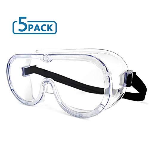 5 piezas Gafas protectoras Gafas protectoras Gafas de trabajo de selladas Gafas protectoras sobre gafas para laboratorio de bricolaje Laboratorio quirúrgico Médico enfermera Hospital, etc.