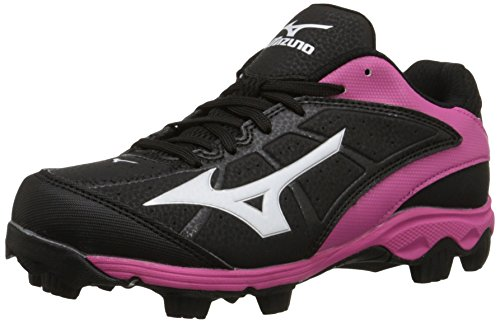 Mizuno 9 Spike ADV YTH FINCH FRHSE6 BP Youth Girls Molded Cleat (Little Kid/Big Kid), Black/Pink,...