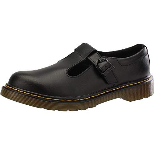 Dr. Martens Youth Polley T Lamper Leather Buckle Shoe Black-Black-4 (Older) Size 4 (Older)