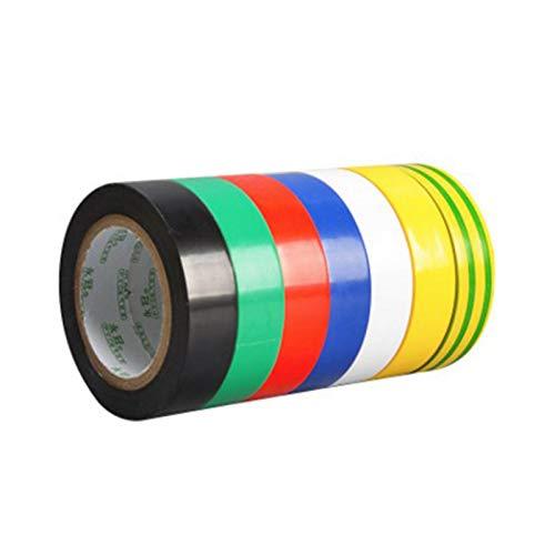 gotyou 7 rotoli Impermeabile multicolore Nastro Isolante Elettrico PVC Nastro Adesivo,17mm x 9m Nastro Rotoli,Assortimento di 7 Colori,Adatto Per La Protezione Dell'isolamento dei Giunti Metallici