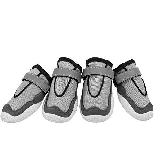 Niocase Juego de 4 Zapatos para Perros, Use Zapatos Reflectantes Antideslizantes Resistentes a Las Mascotas con Pasta Mágica, Perros Pequeños Gris - 5.8cm