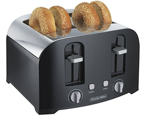 Proctor Silex 4-Slice Toaster with Shade Selector, Toast Boost, Crumb Tray, Auto-Shutoff and Cancel Button, Black (24622)