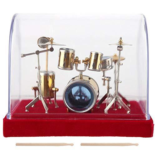 Hztyyier Miniatur Schlagzeug, 3D Modell Set Miniatur Musikinstrument Trommel Dekoration Display Mini Handwerk für Zuhause Ornamente(14cm)