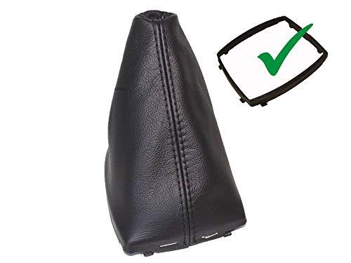 Funda para palanca de cambios con marco de plástico, piel auténtica, color negro