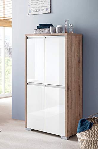 Schildmeyer Bello Kommode 701602, wildeiche Dekor/weiß glanz, 63,5/33,1/120,8 cm