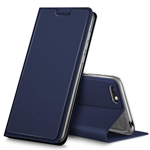 Verco Handyhülle für Y5 2018, Premium Handy Flip Cover für Huawei Y5 2018 Hülle [integr. Magnet] Book Hülle PU Leder Tasche [Huawei Y5 Prime 2018/Honor 7S], Blau