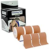 Exrebon Kinesiology Tape (3 Uncut Rolls 2inch*16ft), Physio Waterproof Latex Free Tape for Pain Relief Muscle Support Injury Recovery, Therapeutic Sports Tape for Neck Shoulder Elbow Knee Ankle Beige