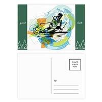 スポーツ選手のフリースタイルスキーの水彩画 グッドラック・ポストカードセットのカードを郵送側20個