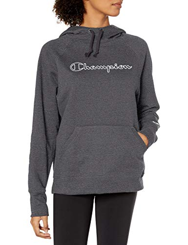 Champion Women's Powerblend Hoodie, Granite Heather - Applique, Medium