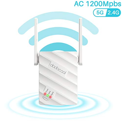 powerful Up to 1200 Mbit / s dodocool WiFi Range Extender, High Speed ​​WiFi Repeater 2.4 and 5 GHz, Wireless Dual Band…