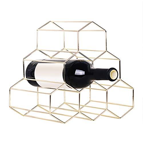 KANGMOON Aufsatz-Weinregale - Keine Montage erforderlich - Moderne Weinregale aus Metall - kleine Weinregale und Flaschenregale - 6 Flaschen für Weinlagerregale (Gold)