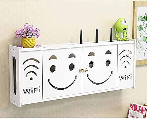 WOAIAI Wifi Set-top Box,Caja de almacenamiento de router WiFi,Ranurador sin perforación Rack Router TV Wall hang,Cajas de almacenamiento de alambre de enchufe de alimentación