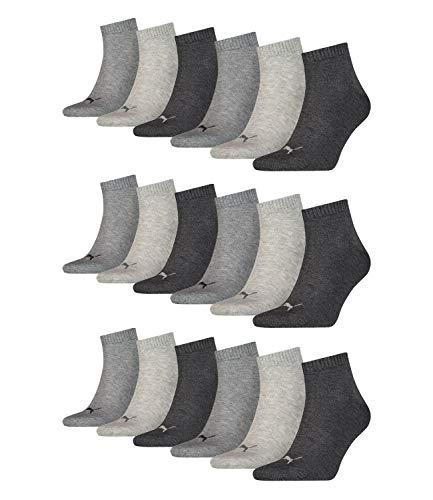 PUMA unisex Quarter Sportsocken Kurzsocken Socken 271080001 18 Paar, Farbe:Grau, Menge:18 Paar (6x 3er Pack), Größe:47-49, Artikel:271080001-800 anthracite/light grey/middle grey