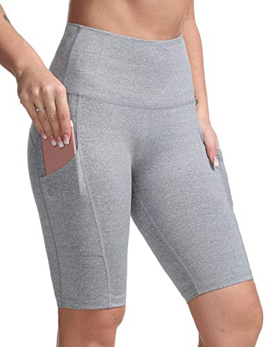 DILANNI Women's Yoga Shorts with Pockets- High Waisted Compression Workout Shorts for Women - Girls Running Shorts with Tummy Control for Athletic Biker Light Grey