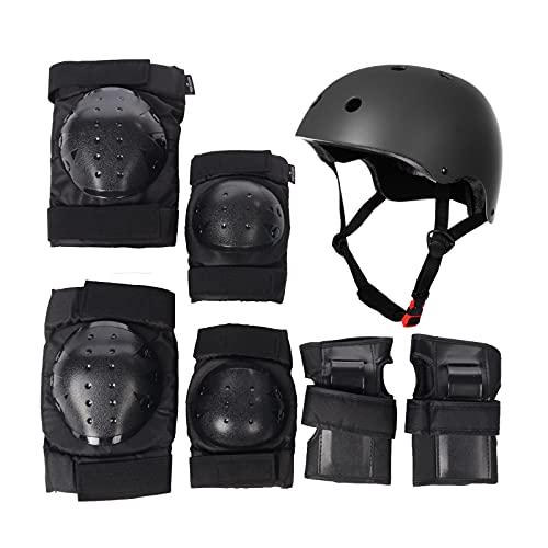 GirarYou Protección Patinaje para Niños, Adultos 7 Piezas Juego Casco Ajustable Niño para Bici Casco para Patinete Ciclismo Montaña BMX Carretera Skate Patines monopatines (S, Negro)