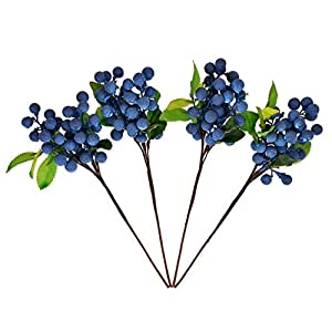 DS. DISTINCTIVE STYLE Artificial Berries 4 Pieces Lifelike Faux Fruit Berries Fake Flowers for Decoration