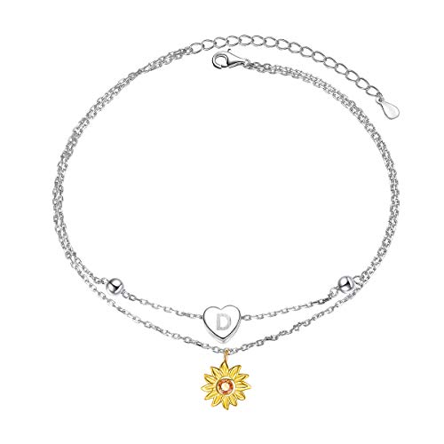 Sterling Silver Layered Chain Alphabet Letter Initial D with Sunflower Beads Foot Bracelet Anklet for Women