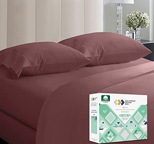 California Design Den Bettlaken-Set aus 100 prozent Baumwolle, Fadenzahl 600, extra langstapelig, Baumwolle für Bett, 4-teiliges Set mit tiefer Tasche (Dusty Rose, Queen)