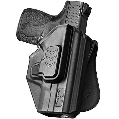 """S&W M&P Shield 9MM Holster, OWB Paddle Holster Fit Smith&Wesson M&P 9mm/.40 S&W Shield & Shield M2.0 - 3.1"""" Barrel. Open Carry Holster for Outside Waistband, Adjustable Cant/Quick Release-Right Hand"""