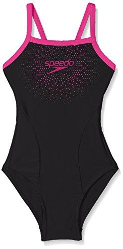 Speedo Mädchen Badeanzug 'Gala Logo Thinstrap Muscleback Badeanzug, schwarz / rosa, 152