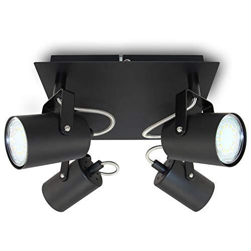 Aufbauleuchte Deckenleuchte Aufputz 1 x VENICE Schwarz 4-Flammig IP20 GU10 Fassung,Deckenleuchte Strahler Deckenlampe Kronleuchter aus Stahl, horizontal und vertikal einstellbar - ohne Leuchtmittel