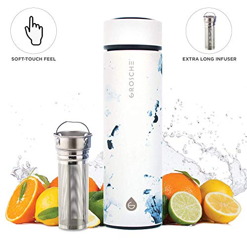 GROSCHE Chicago SOFT TOUCH (White Marble) fruit infuser water bottle Double walled Tea infuser bottle Vacuum insulated stainless steel water bottle Vacuum flask 450 ml/ 15.2 fl. Oz