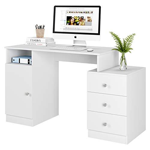 Homfa Schreibtisch Computertisch mit 3 Schubladen und 1 Unterschrank, Bürotisch Arbeitstisch aus Holz, PC Tisch mit Kabeldurchführung fürs Büro Arbeitszimmer weiß matt 133 x 50 x 75,5 cm
