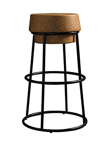 65 cm / 75 cm Sgabelli da Bar Tappo in Sughero Sedile Rotondo Sgabello Alto Sedia da bancone in Ferro Color Champagne con poggiapiedi Cucina da Bar Mobili per Sala da Pranzo - capacità 250 kg