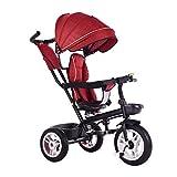 WENJIE Triciclo, Triciclo Multiusos 4 en 1 for niños con sombrilla, Triciclo for bebé de 1-6 años, Rueda vacía de Titanio, 2 Colores, 90x75x45cm (Color : Red)