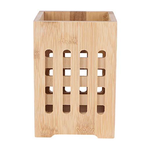 Cabilock Soporte de Secado de Cubiertos Cesta de Madera Palillos de Bambú Soporte Vajilla Escurridor de Cubiertos Organizador de Almacenamiento Caddy