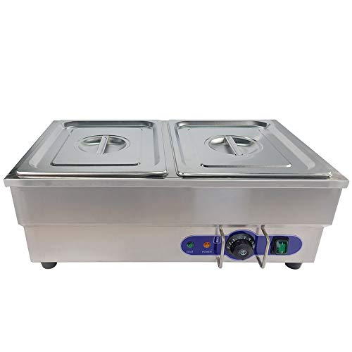 Bain Marie Commercial Food Warmer, Stainless Steel, Silver, 2 * 1/2 Pans,Lids