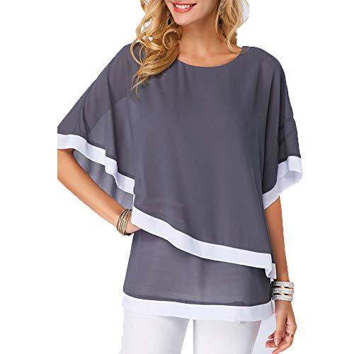 Camiseta Mujer Elegante Manga Corta Blusas y Camisas, Manga de murciélago Cuello en Redondo Top Gasa Loose Primavera Verano