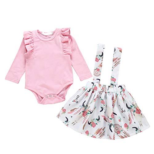 Tianhaik baby meisjes ruches outfit, lange mouwen, romper + rok met bloemen, 2 kledingstukken voor 0-24 m
