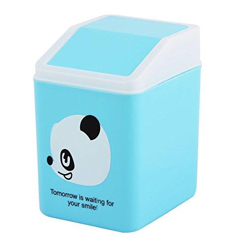 uxcell Panda Pattern Plastic Home Bedroom Seedcase Rubbish Waste Garbage Bin Can Blue