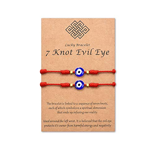 Tarsus 7 Knots Kabbalah Red String Bracelet Protection Evil Eye Bracelets for Women Men