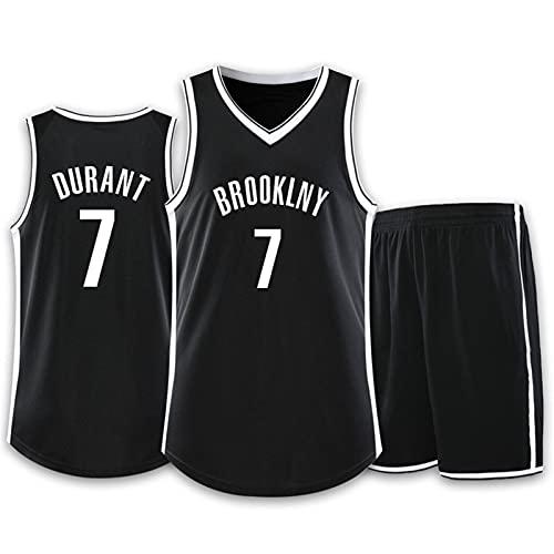 Wsaman No.7 Camiseta de Baloncesto para niños Hombres,Transpirable Secado rápido Chaleco, Hombres Jersey Baloncesto, Verano Uniformes Tops de Baloncesto, Hombres Camiseta,Negro,S