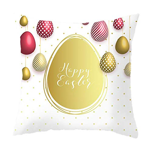 Mku 45 * 45 Cm Federa Di Pasqua Coniglietti Di Coniglio Carino Con Uova Fodera Per Cuscino, Fodera Per Cuscino Di Tiro Fodera Per Cuscino Conigli Pasquali Felici