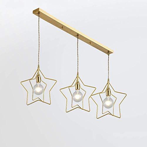 GJJSZ Star Rays Lámpara Colgante Lámpara de araña de Metal Moderno E27-E26 Iluminación de Techo Loft Home Bar Café Comedor Lámpara Colgante Diámetro 32 cm Luz de suspensión (Dorado,Forma de Estrella)