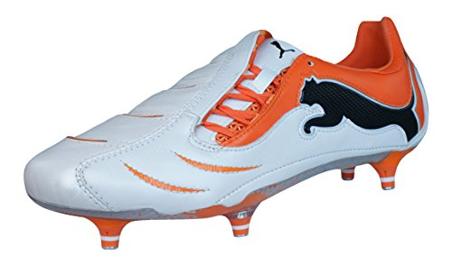 PUMA Powercat 1.10 SG Mens Leather Soccer Boots/Cleats-White-12.5