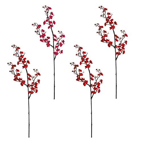 RNSUNH 4 ramas de flores artificiales de ciruela, 91,9 cm de seda artificial, flores de ciruela, ramo de flores de simulación para el hogar, la cocina, la oficina, el jarrón de fiesta decoración