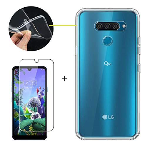 LJSM Funda para LG Q60 + Protector de Pantalla Templado Film Película Protectora - Transparent Carcasa Silicona TPU Suave Caso Case para LG Q60 (6.26