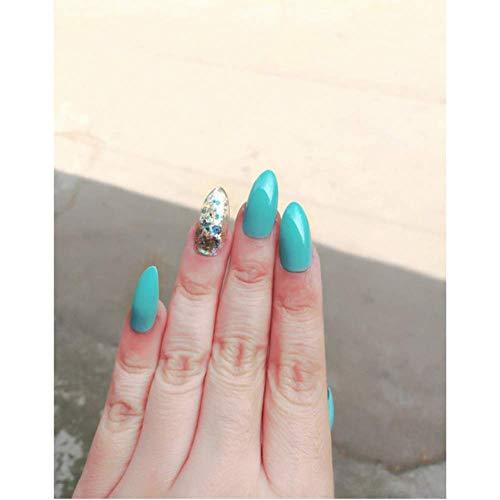 Valse nagels, nep nagels, Franse acryl stijl kunstmatige nep kunst nagels Tips, voor vrouwen meisjes, gouden glitter hoge hakken puntige rood blauw groen huis sterk 2