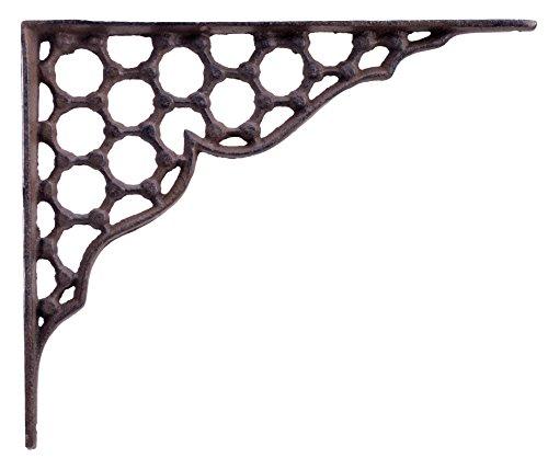 Decorative Shelf Bracket Hexagon Lattice Rust Brown Cast Iron Brace Corbel 9.25'