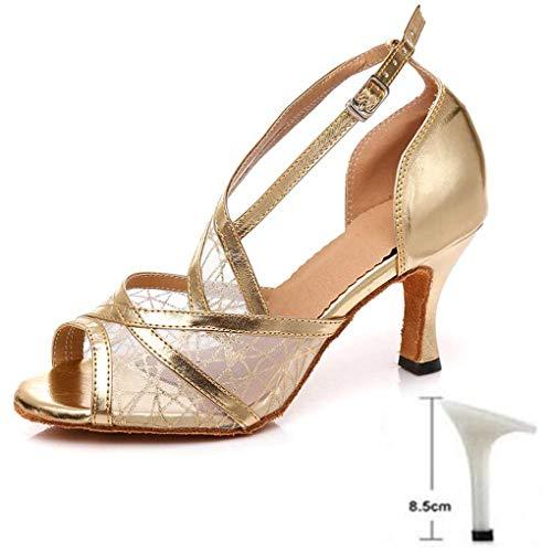 Hangyin Damen Standard Tanzschuhe Damen Latein Tanzschuhe High Heeled Professionelle MäDchen Kindertanzschuhe 6/7.5/8.5/9/10 cm Heels Gold 85Cm 9.5