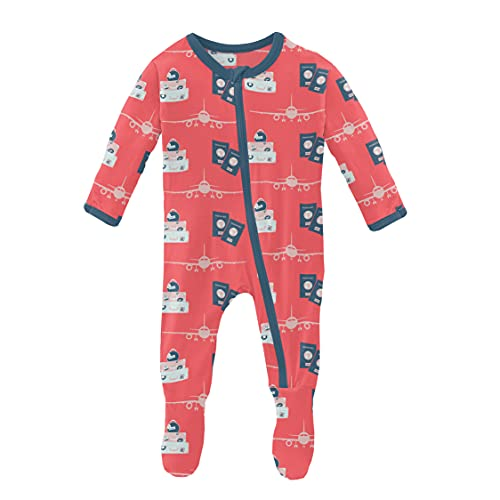 KicKee Pants Print Footie with Zipper, Fitting Long Sleeve Pajama Baby Bodysuit, Ultra Soft Everyday One Piece Loungewear, Baby Clothes for Boys and Girls (English Rose Travel Guide - 0-3 Months)